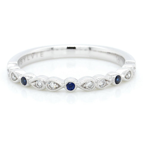 18K White Gold Alternating Shapes Diamond Sapphire Band