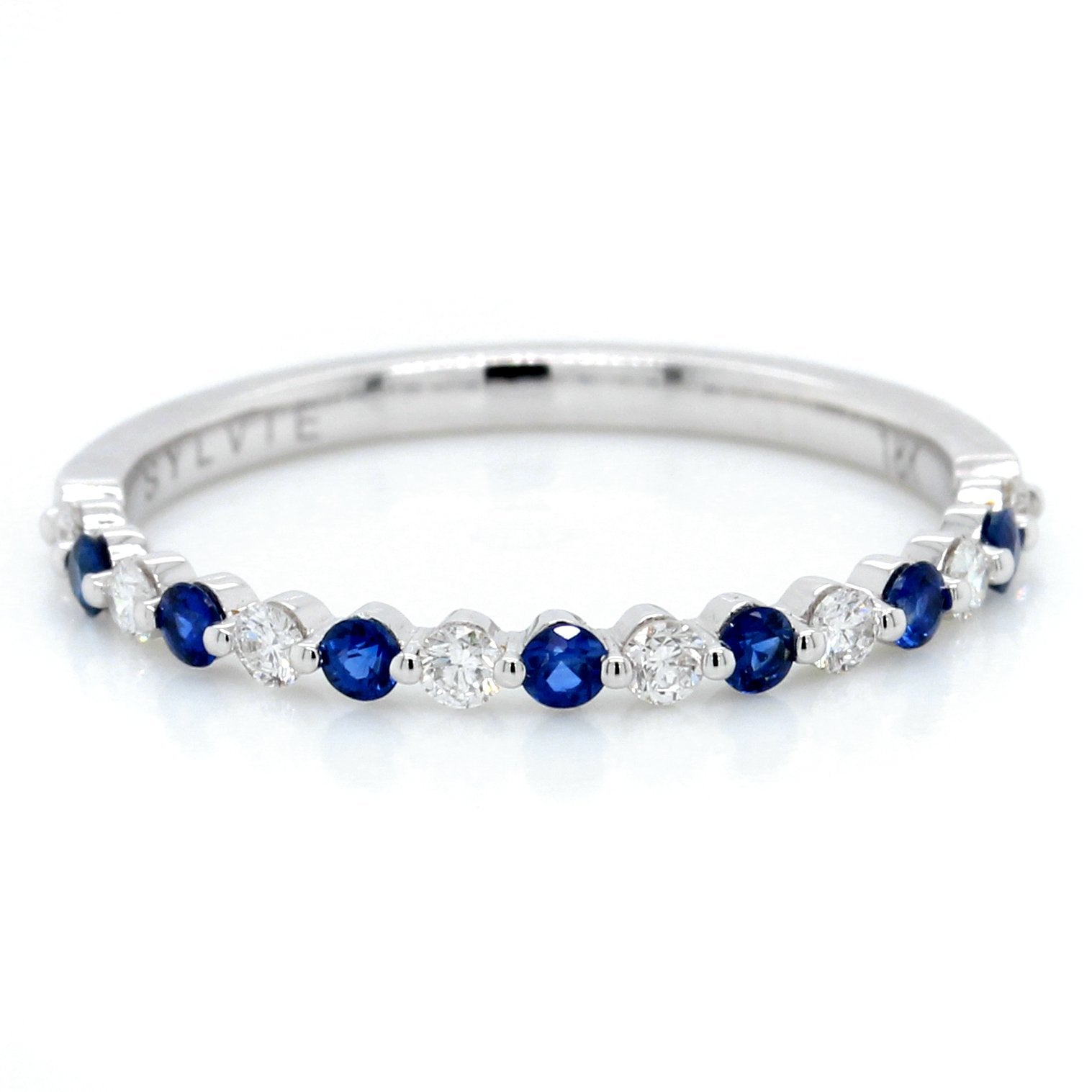 18K White Gold Alternating Sapphire and Diamond Ring