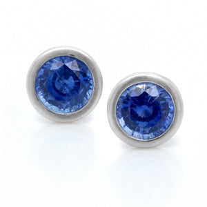 18K White Gold Bezel Set Sapphire Earrings