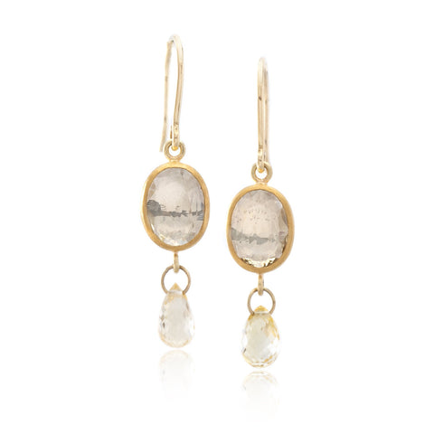 18K Yellow Gold Rosecut Yellow Sapphire Drop Earrings