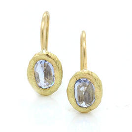 18K Yellow Gold Emerald Cut Blue Topaz Earrings