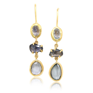 18K Yellow Gold Three Stone Sapphire Slice Drop Earrings