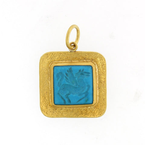24K Yellow Gold and Sterling Silver Turquoise Pegasus Charm