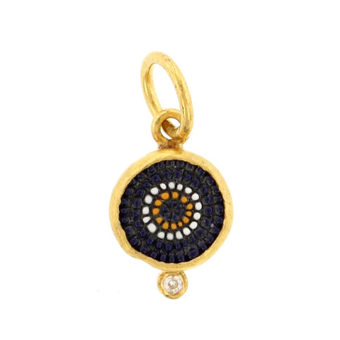 24K Yellow Gold and Sterling Silver Evil Eye Charm