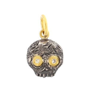24K Yellow Gold and Sterling Silver Jawless Skull Charm