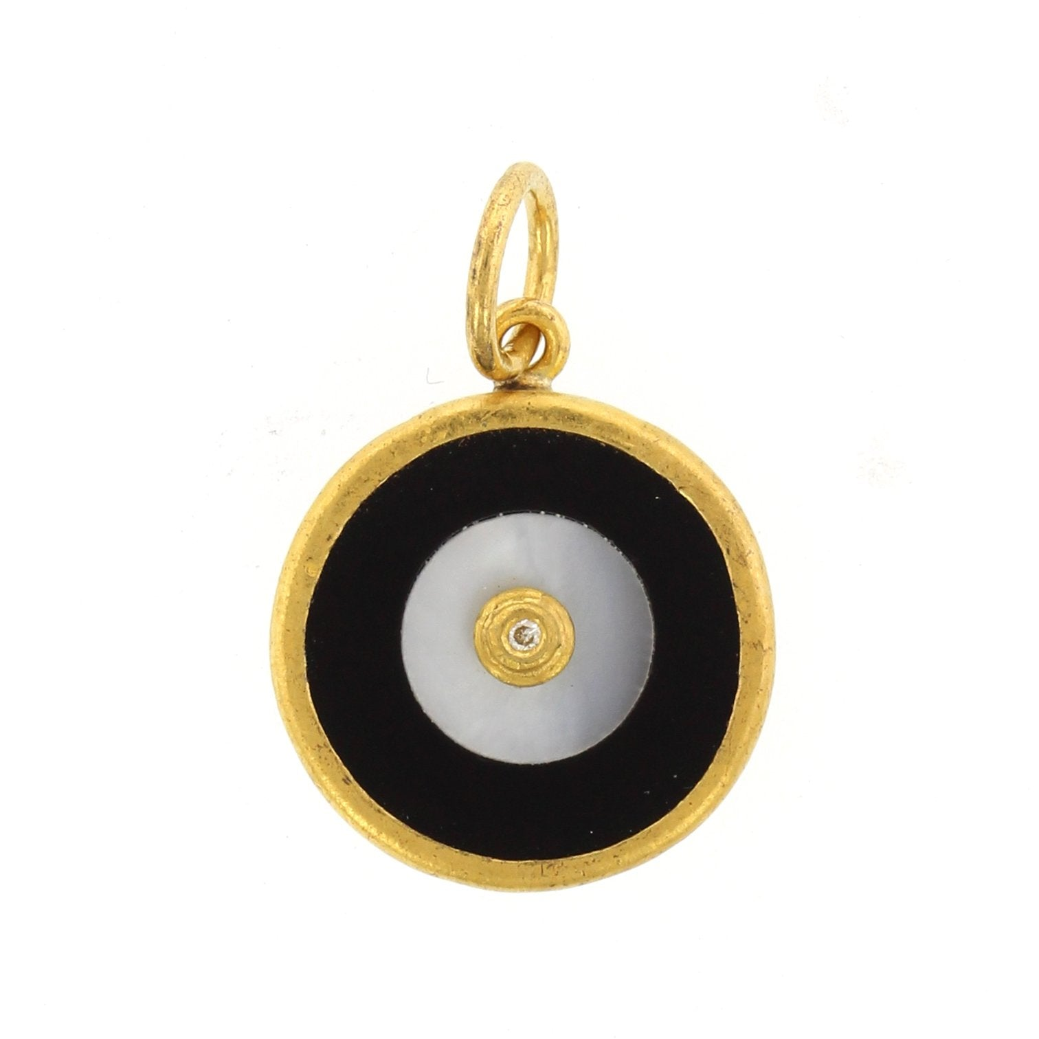 24K Yellow Gold and Sterling Silver Onyx and Pearl Evil Eye Charm