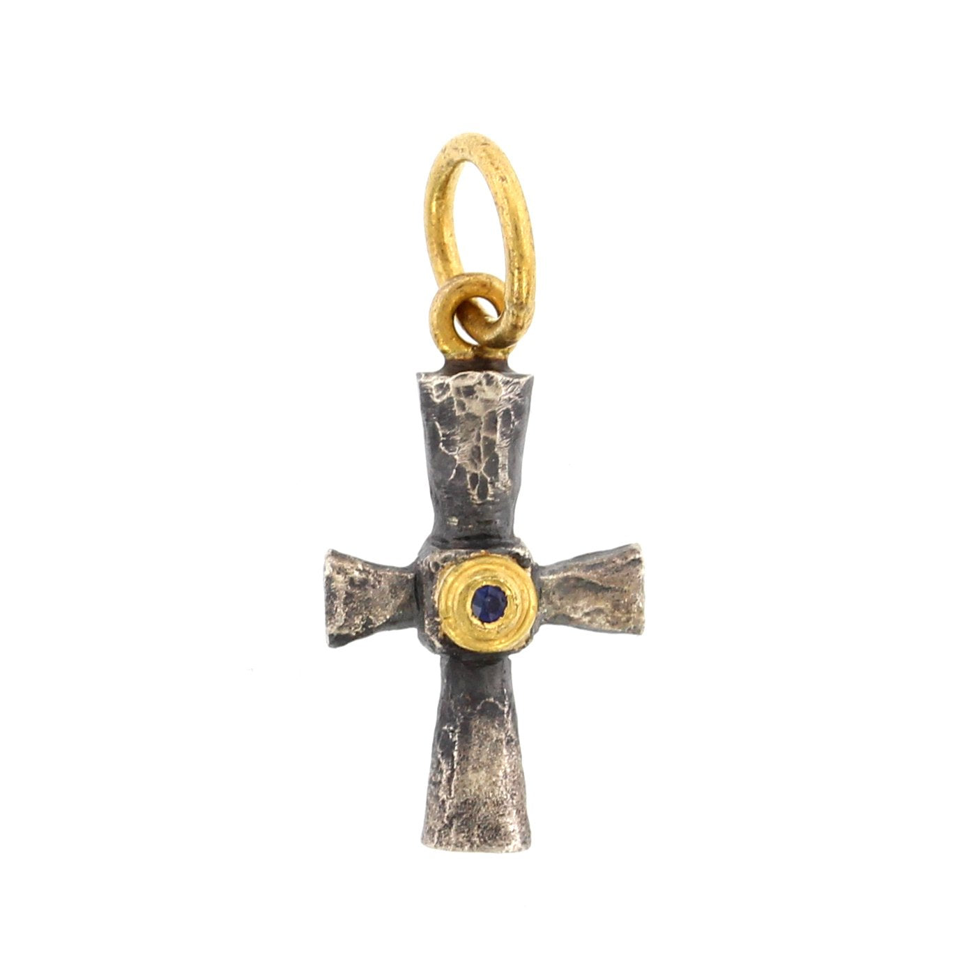 24K Yellow Gold and Sterling Silver Byzantine Cross Charm