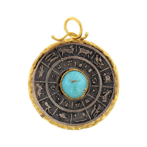 24K Yellow Gold and Sterling Silver Turquoise Zodiac Charm