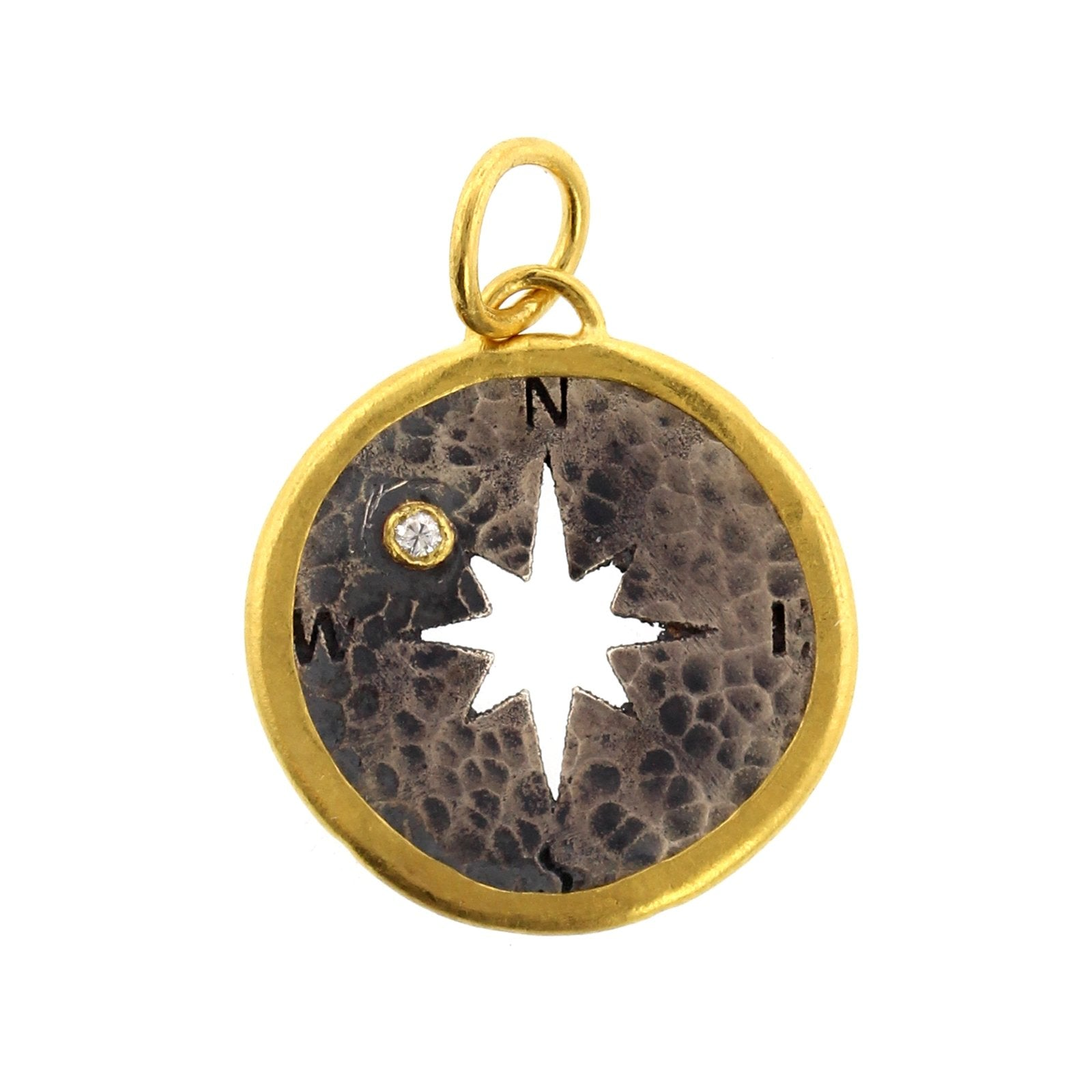 24K Yellow Gold and Sterling Silver Diamond North Star Charm