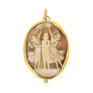 24K Yellow Gold and Sterling Silver Portrait Cameo Charm