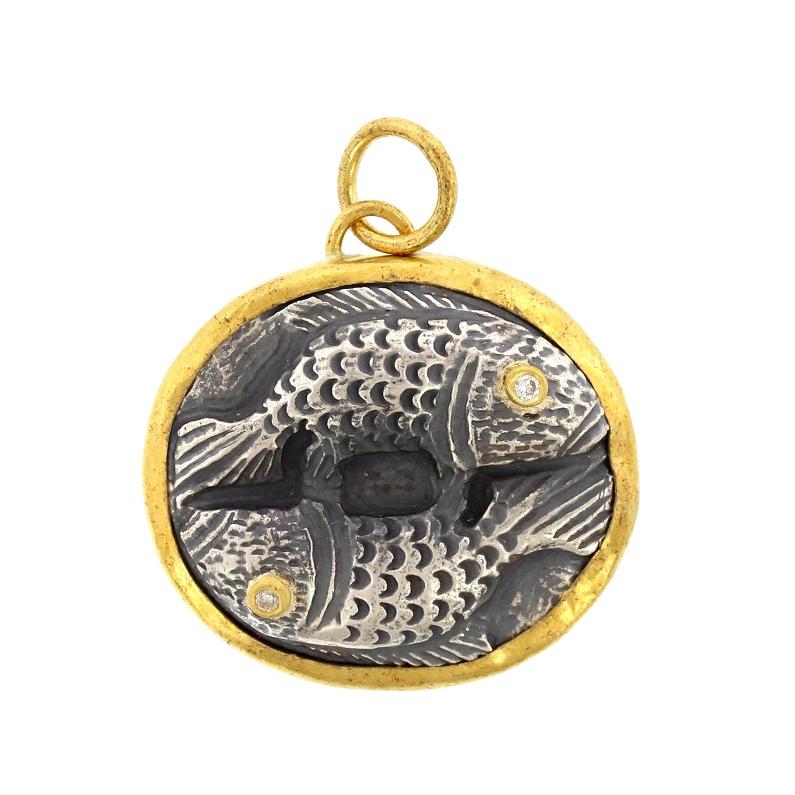 24K Yellow Gold and Sterling Silver Double Fish Charm