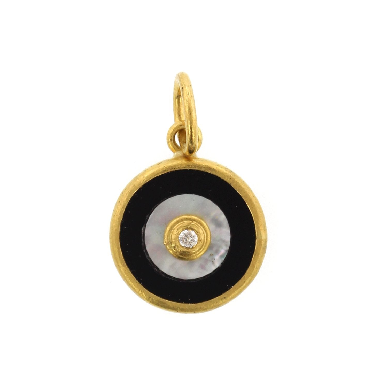 24K Yellow Gold and Sterling Silver Quartz Evil Eye Charm