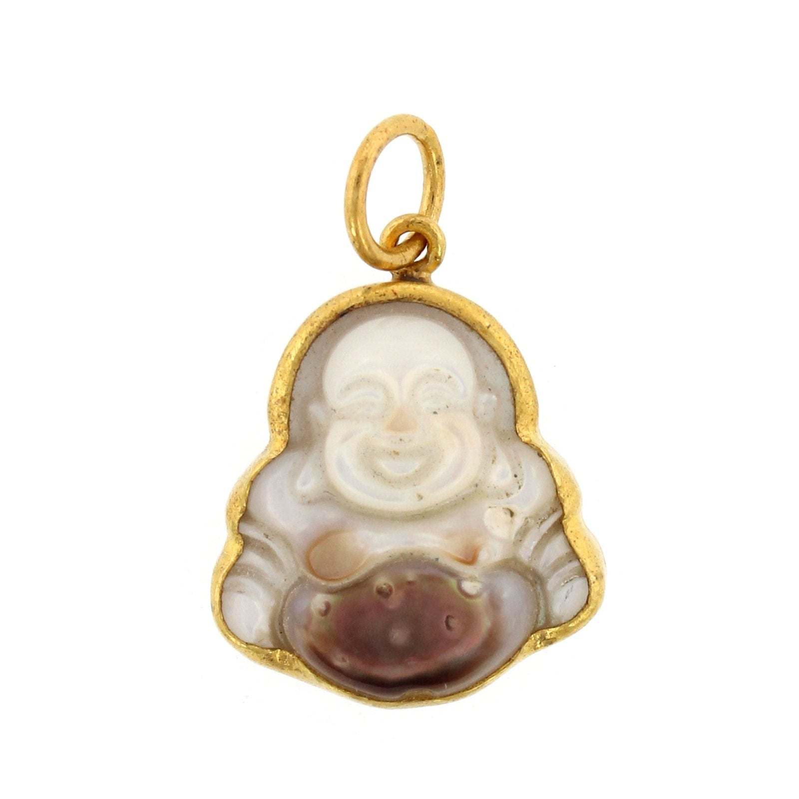 24K Yellow Gold and Sterling Silver Mother of Pearl Buddha Charm