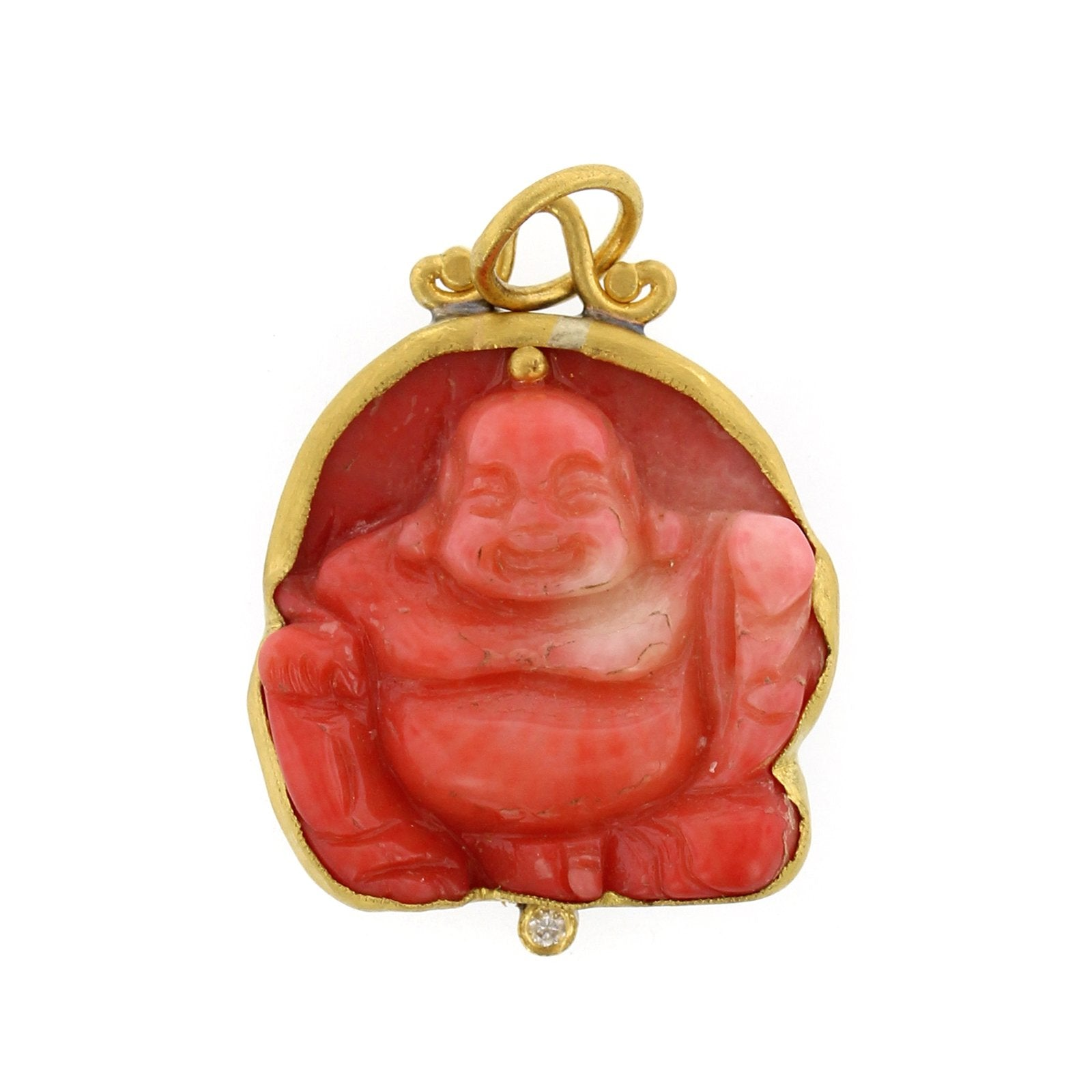 24K Yellow Gold and Sterling Silver Coral Buddha Charm