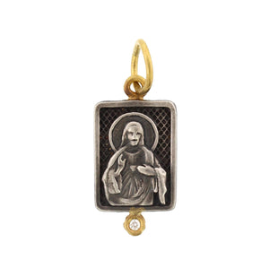 24K Yellow Gold and Sterling Silver Religious Charm