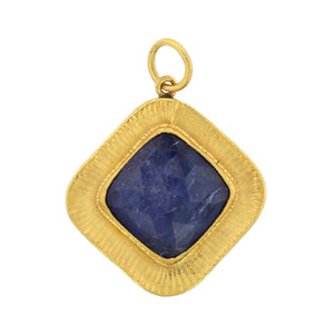 24K Yellow Gold and Sterling Silver Tanzanite Charm