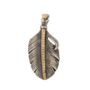 24K Yellow Gold and Sterling Silver Diamond Feather Charm