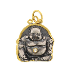 24K Yellow Gold and Sterling Silver Buddha Charm