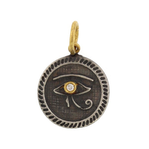 24K Yellow Gold and Sterling Silver Horus Eye Charm