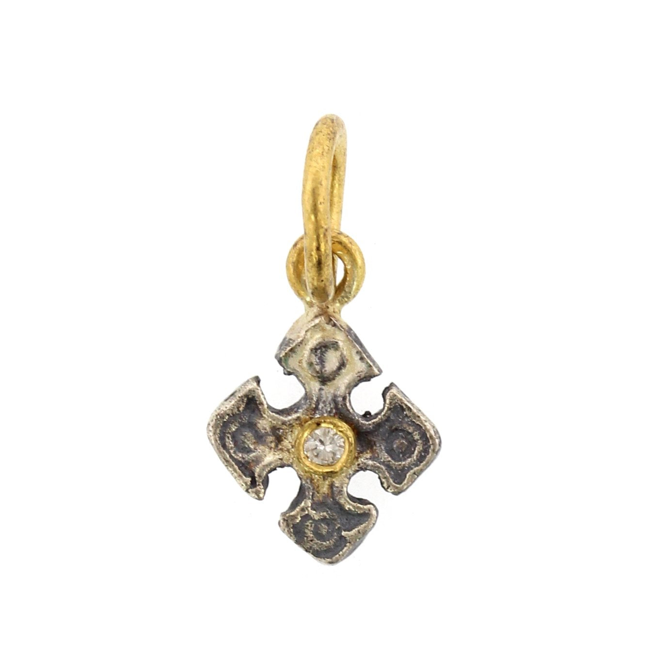 24K Yellow Gold and Sterling Silver Mini Diamond Cross Charm