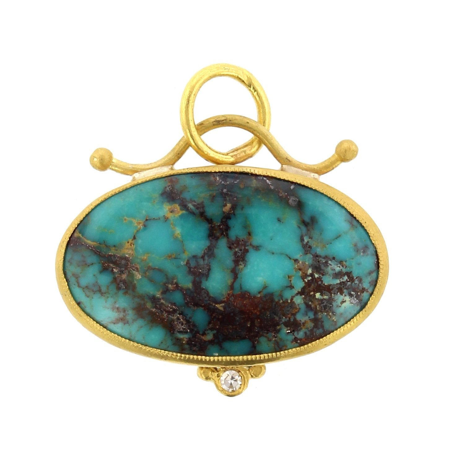 24K Yellow Gold and Sterling Silver Turquoise Charm