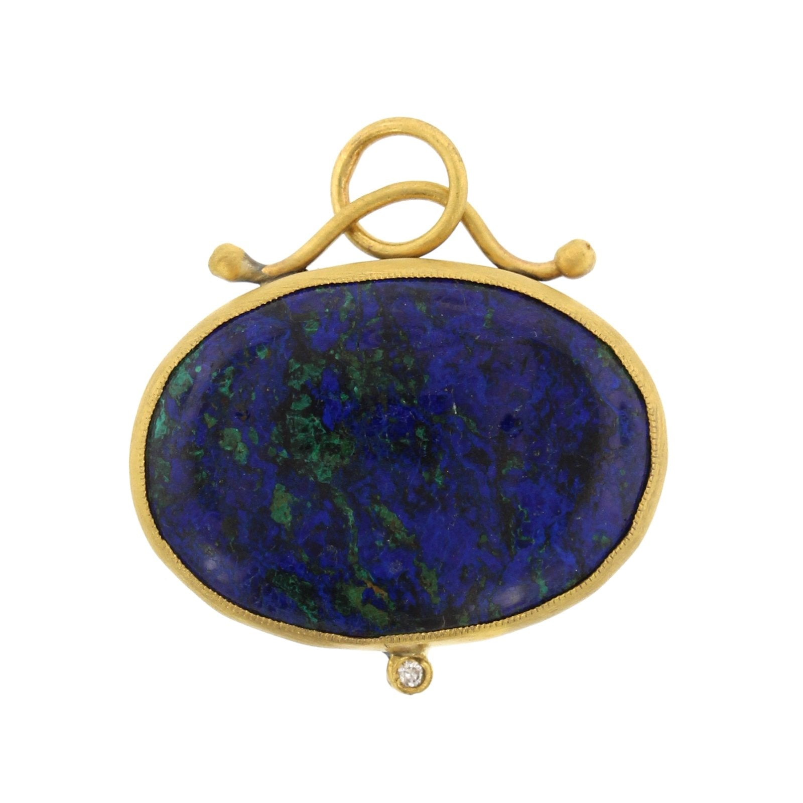 24K Yellow Gold and Sterling Silver Diamond Azurite Charm
