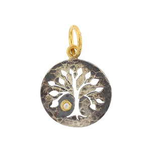 24K Yellow Gold and Sterling Silver Tree of Life Charm