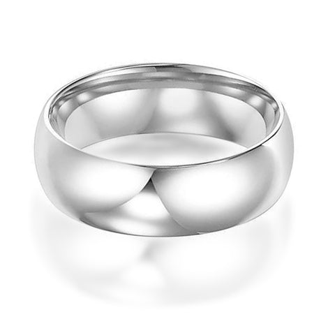 14K White Gold 6mm Low Dome Band