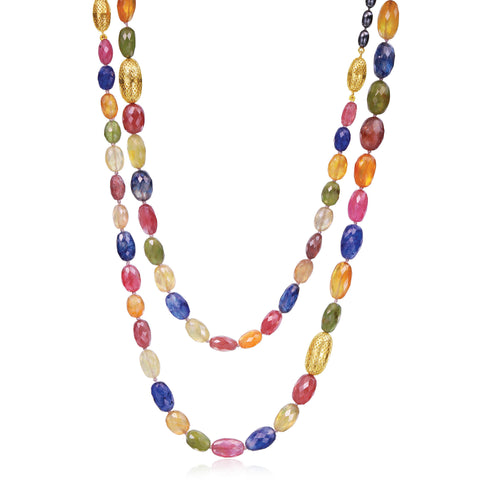 18K Yellow Gold and Sterling Silver Multi-Colored Sapphire Bead Pendant