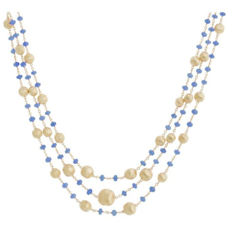 Africa 18K Yellow Gold 3 Row Sapphire Necklace