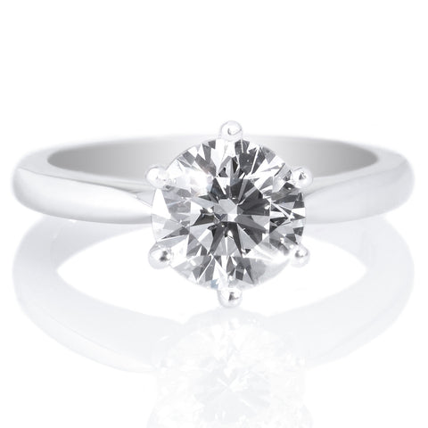 18K White Gold Solitaire Diamond Embellished Prong Engagement Ring