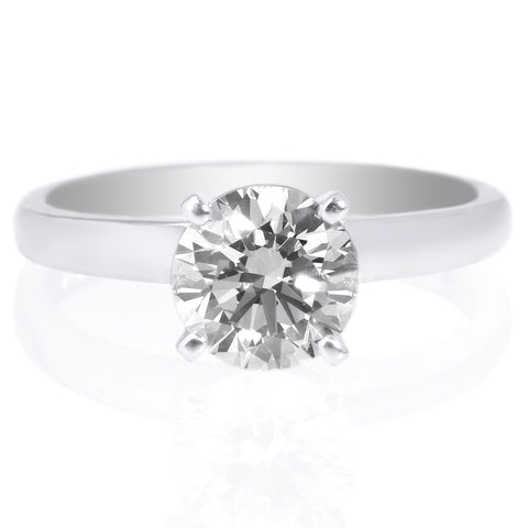 Platinum Solitaire Diamond Cathedral Tapered Engagement Ring