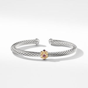 Bracelet with Pink Tourmaline, Rhodalite Garnet and 14K Gold