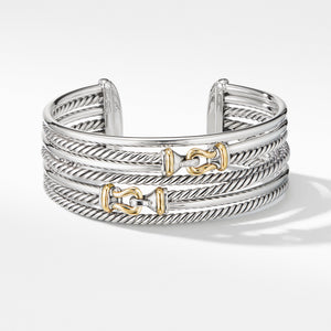 Buckle Crossover Cuff Bracelet with 18K Yellow Gold