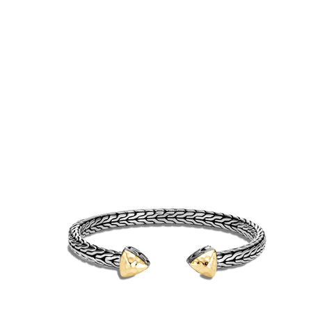 18K Yellow Gold Burnished Diamond Bangle