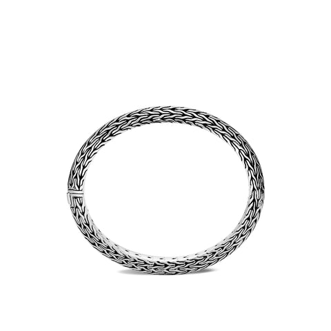 Classic Chain Silver Knife Edge Small Oval Hinged Bangle