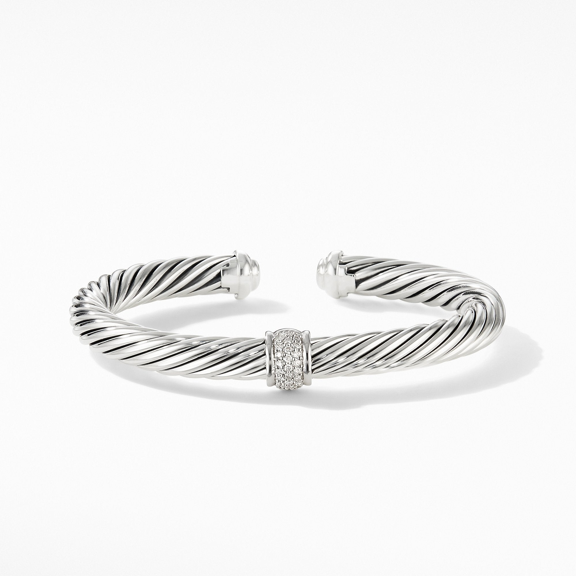 Cable Classic Center Station Bracelet with Pavé Diamonds