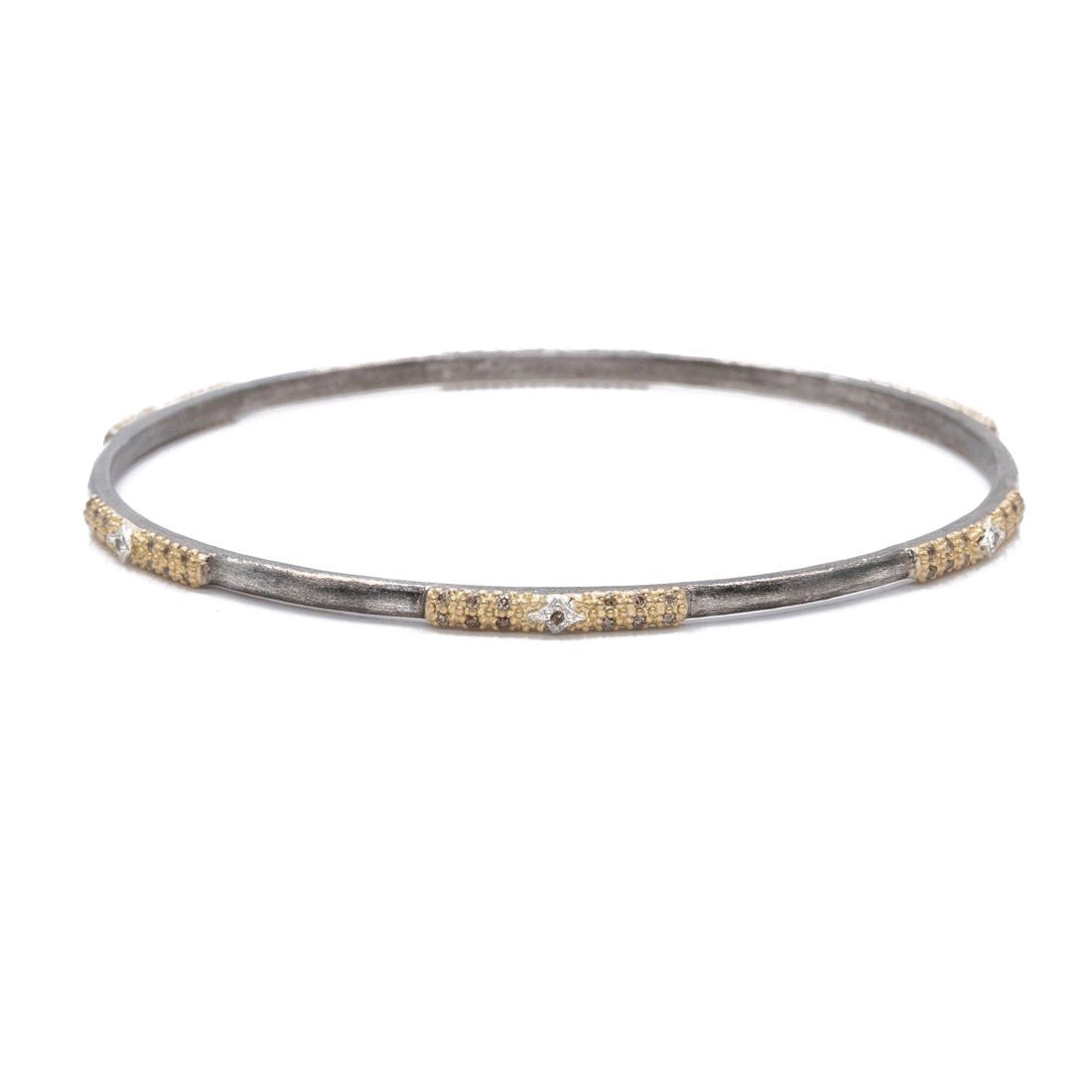 18K Yellow Gold and Sterling Silver Diamond Bangle