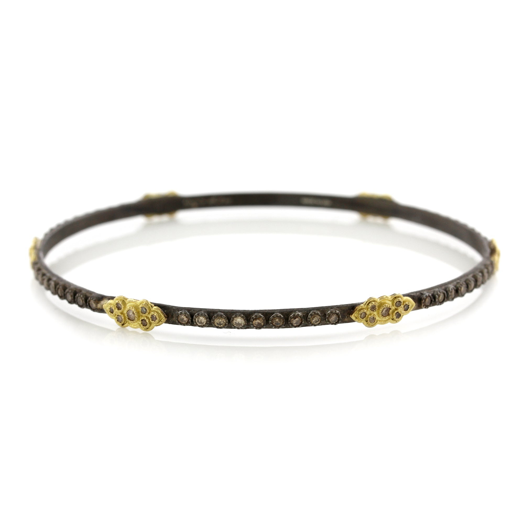 18K Yellow Gold and Sterling Silver Champagne Diamond Bangle