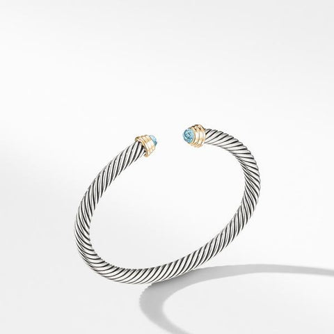 Cable Kids® Birthstone Bracelet with Aquamarine and 14K Gold, 4mm
