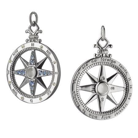 Sterling Silver Moonstone and Blue Sapphire Compass Charm