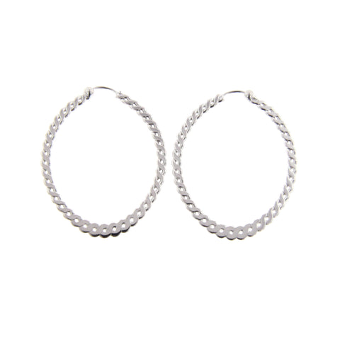 Sterling Silver Medium Twisted Oval Hoop Earrings