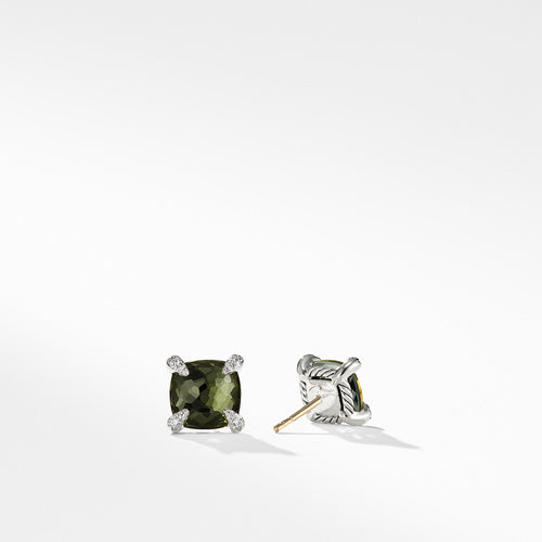 Earrings with Green Orchid and Diamonds