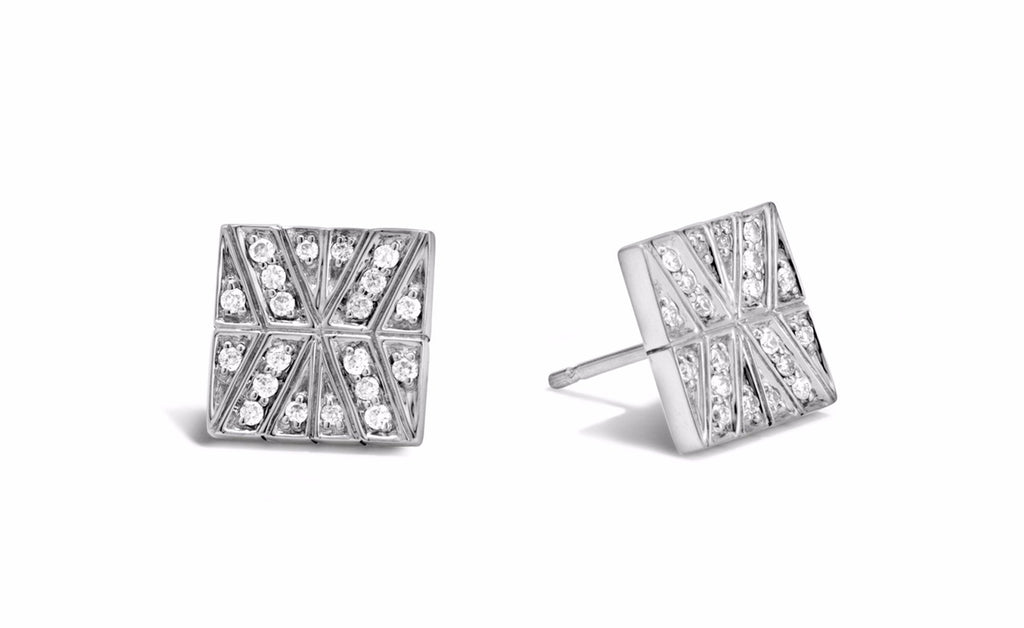 Modern Chain Stud Earring with Diamonds