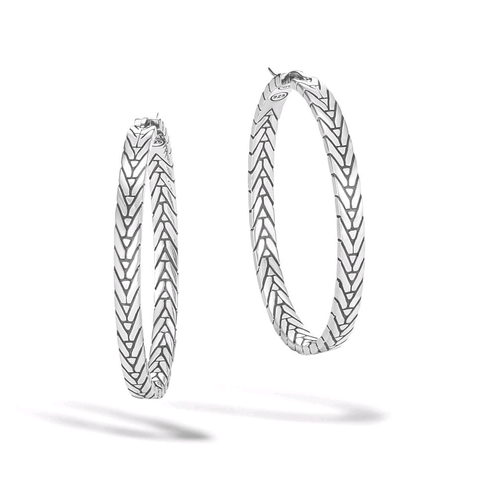 John Hardy Modern Chain Silver Medium Hoop Earrings