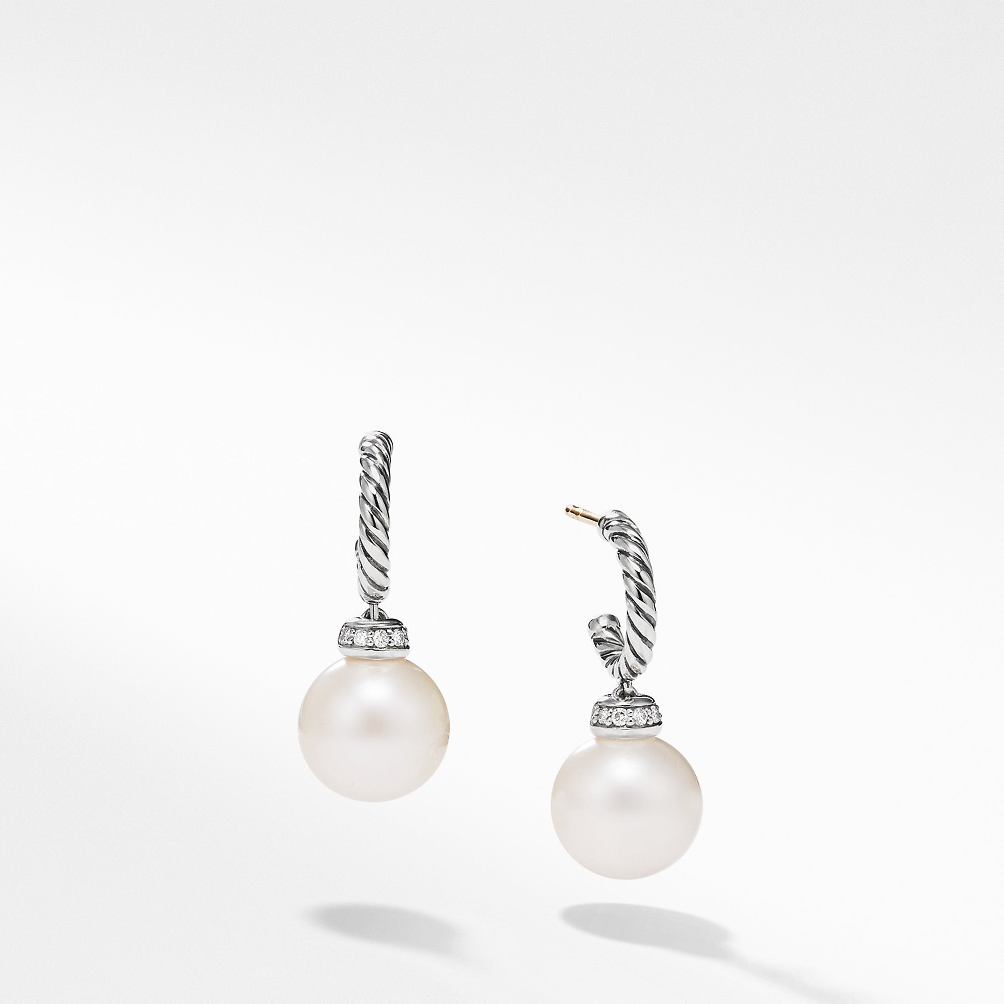 Solari Hoop Earrings with Diamond and Freshwater Pearl