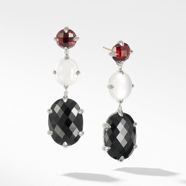 Chatelaine® Drop Earrings with Black Onyx, Milky Quartz over Mother of Pearl and Garnet