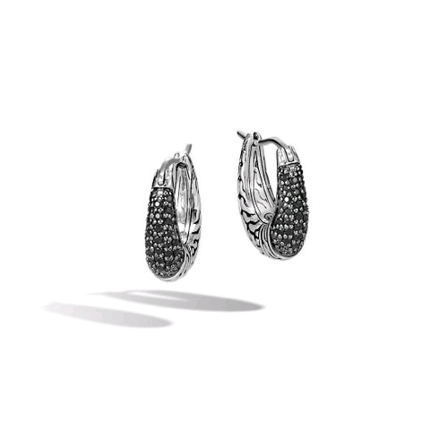 John Hardy Classic Chain Arch Hoop Earrings with Black Sapphires & Spinel