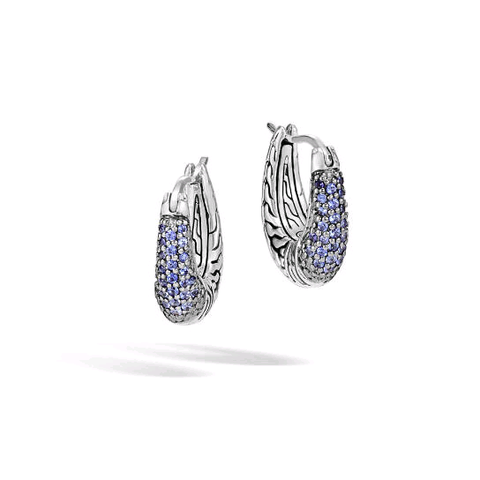 John Hardy Classic Chain Arch Hoop Earrings with Blue Sapphire