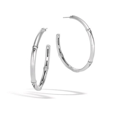 Bamboo Silver Large Diamond Hoop Earrings
